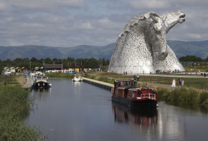 Canal Boat by The Kelpies